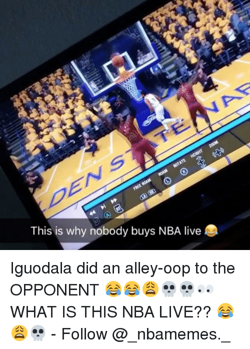 Oopes: This is why nobody buys NBA live Iguodala did an alley-oop to the OPPONENT 😂😂😩💀💀👀 WHAT IS THIS NBA LIVE?? 😂😩💀 - Follow @_nbamemes._