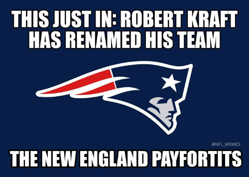 kraft: THIS JUST IN: ROBERT KRAFT  HAS RENAMED HIS TEAM  @NFL MEMES  THE NEW ENGLAND PAYFORTITS