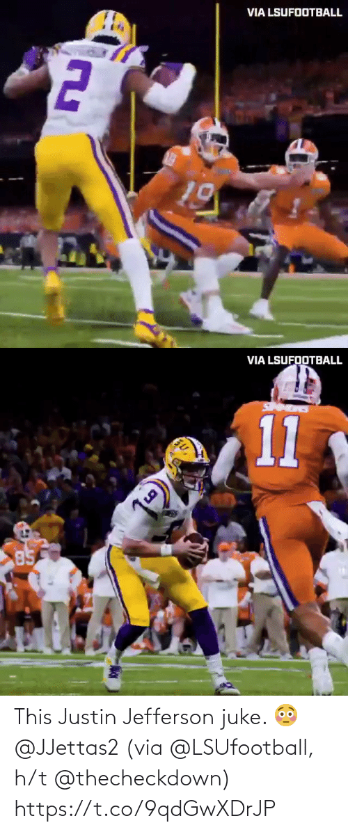 H T: This Justin Jefferson juke. 😳 @JJettas2   (via @LSUfootball, h/t @thecheckdown) https://t.co/9qdGwXDrJP