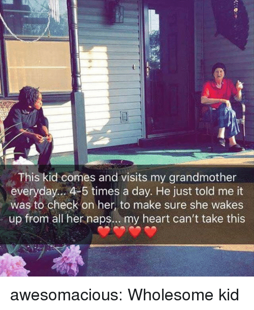 Tumblr, Blog, and Heart: This kid comes and visits my grandmother  everyday.. 4-5 times a day. He just told me it  was to check on her, to make sure she wakes  up from all her naps.. . my heart can't take this awesomacious:  Wholesome kid