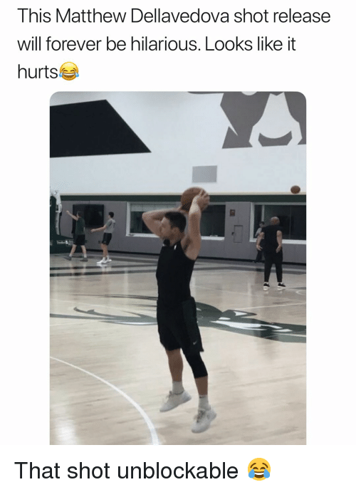 Basketball, Matthew Dellavedova, and Nba: This Matthew Dellavedova shot release  will forever be hilarious. Looks like it  hurts That shot unblockable 😂