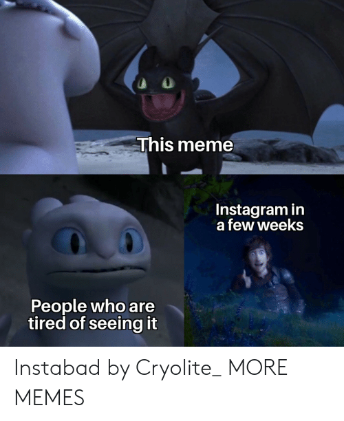 Dank, Instagram, and Meme: This meme  Instagram in  a few weeks  People who are  tired of seeing it Instabad by Cryolite_ MORE MEMES