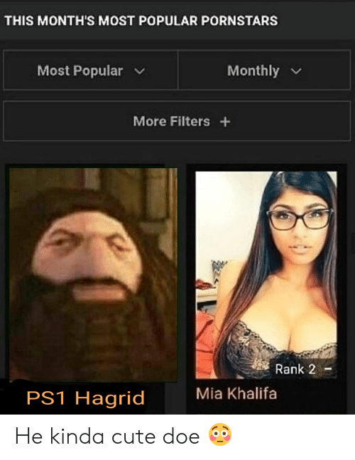 Cute, Doe, and Reddit: THIS MONTH'S MOST POPULAR PORNSTARS  Most Popular  Monthly  More Filters +  Rank 2  Mia Khalifa  PS1 Hagrid He kinda cute doe 😳