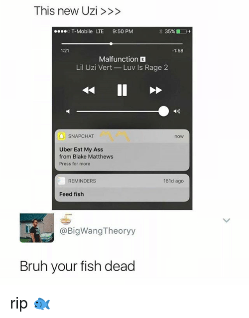 deads: This new Uzi>>>  T-Mobile LTE 9:50 PM  1:21  1:58  Malfunction  Lil Uzi Vert-Luv Is Rage 2  1)  6  A SNAPCHAT  now  Uber Eat My Ass  from Blake Matthews  Press for more  REMINDERS  181d ago  Feed fish  @BigWangTheoryy  Bruh your fish dead rip 🐟
