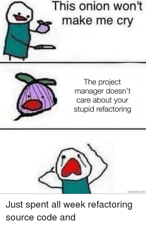 Make Me Cry: This onion won't  make me cry  The project  manager doesn't  care about your  stupid refactoring Just spent all week refactoring source code and