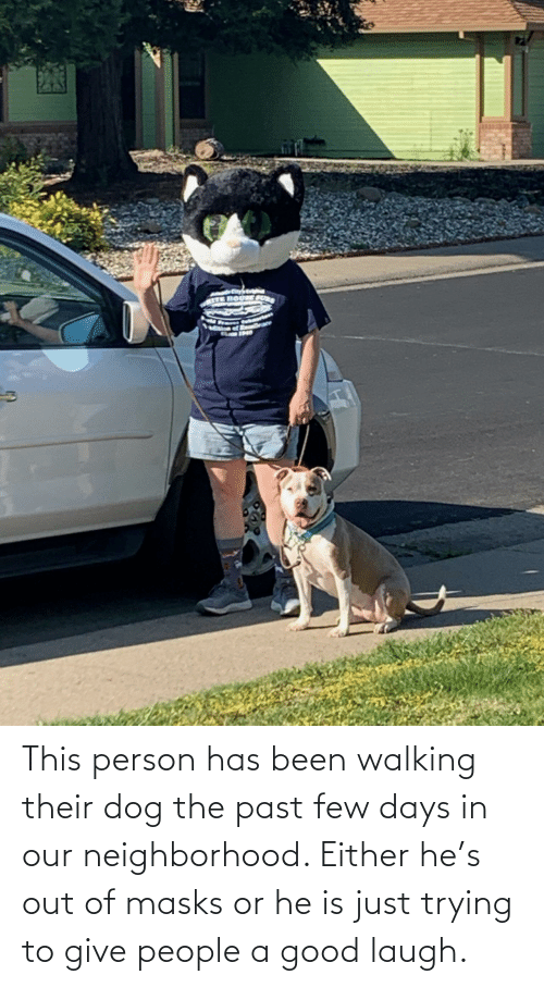 person: This person has been walking their dog the past few days in our neighborhood. Either he's out of masks or he is just trying to give people a good laugh.