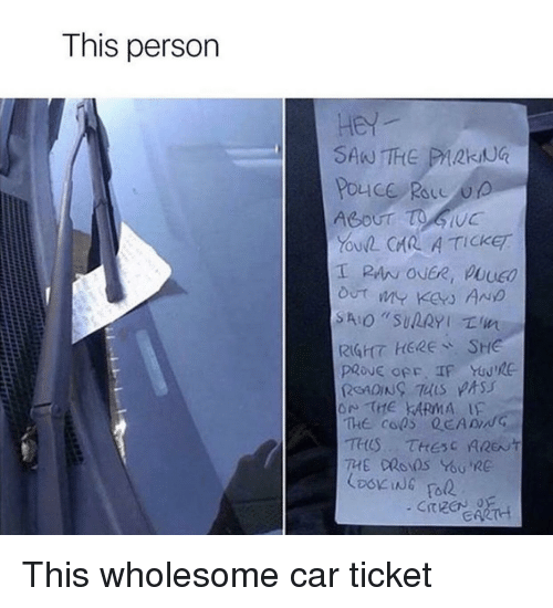Polic: This person  HEY  POLIC  YoL CHR A TICKET  RIGtt HERESHC  THe co@s QEAD  CARTH This wholesome car ticket