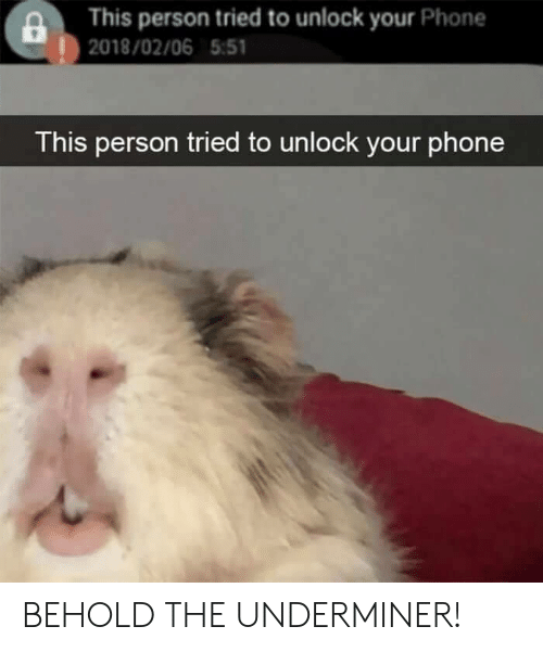 Phone, Person, and This: This person tried to unlock your Phone  |2018/02/06 5:51  This person tried to unlock your phone BEHOLD THE UNDERMINER!