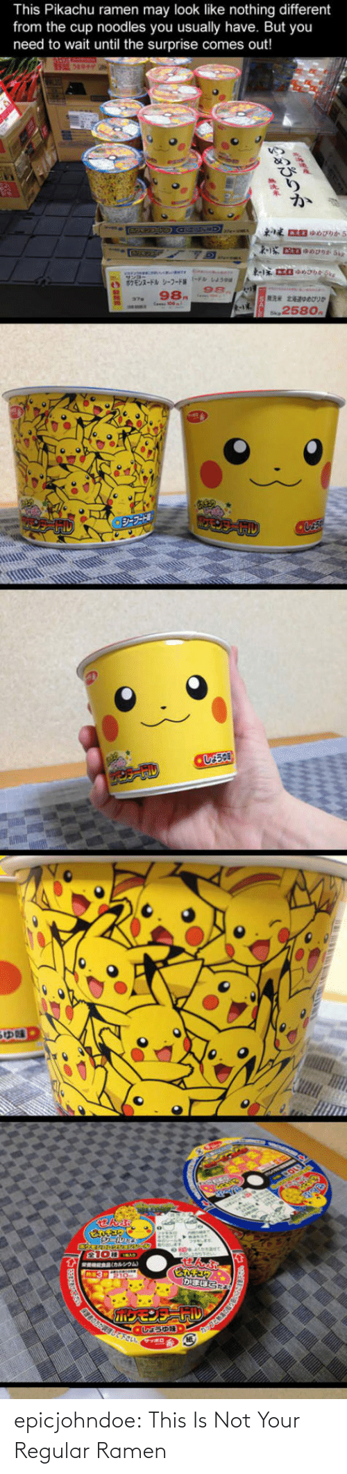 Comes: This Pikachu ramen may look like nothing different  from the cup noodles you usually have. But you  need to wait until the surprise comes out!  98.  258o epicjohndoe:  This Is Not Your Regular Ramen