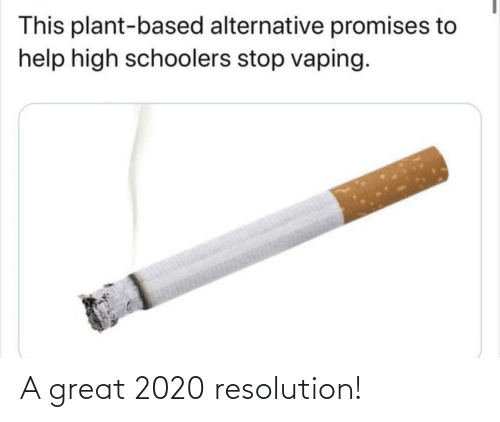 A Great: This plant-based alternative promises to  help high schoolers stop vaping. A great 2020 resolution!