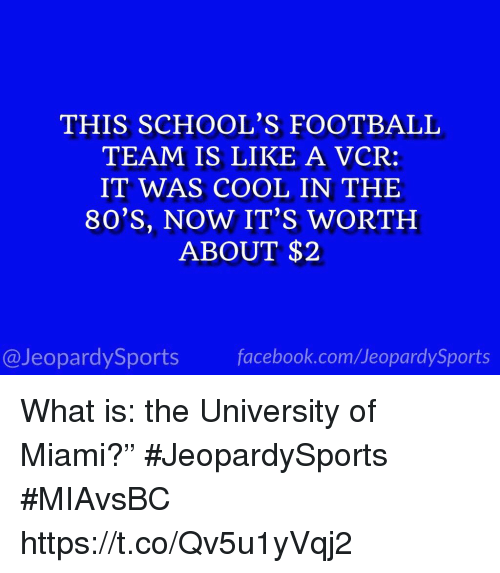 "80s, Facebook, and Football: THIS SCHOOL'S FOOTBALL  TEAM IS LIKE A VCR:  IT WAS COOL IN THE  80'S, NOW IT'S WORTH  ABOUT $2  @JeopardySports facebook.com/JeopardySports What is: the University of Miami?"" #JeopardySports #MIAvsBC https://t.co/Qv5u1yVqj2"