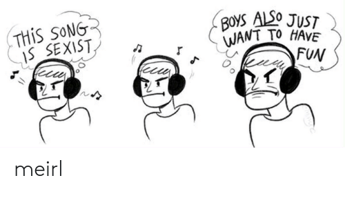 MeIRL, Boys, and Fun: THIS SONG  IS SEXIST  BOYS ALSO JUST  WANT TO HAVE  FUN meirl