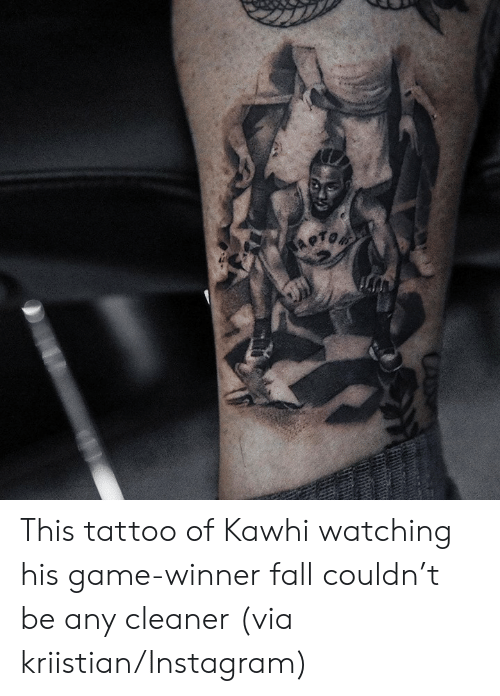 Game Winner: This tattoo of Kawhi watching his game-winner fall couldn't be any cleaner   (via kriistian/Instagram)