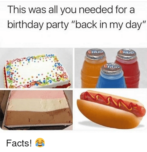 """Birthday, Facts, and Party: This was all you needed for a  birthday party """"back in my day"""" Facts! 😂"""