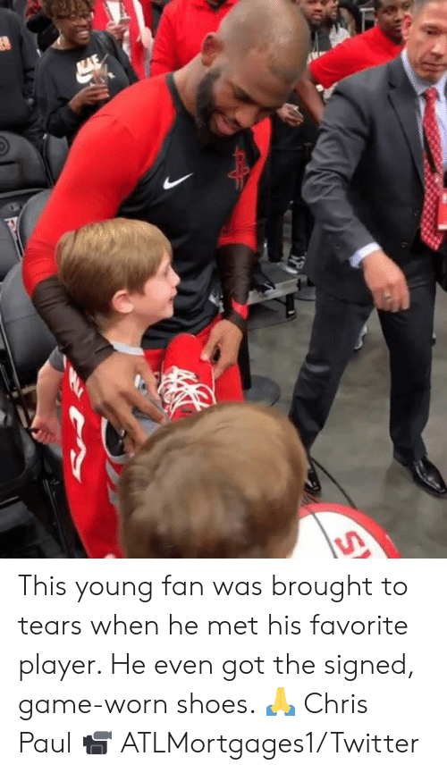 Chris Paul: This young fan was brought to tears when he met his favorite player. He even got the signed, game-worn shoes. 🙏 Chris Paul  📹 ATLMortgages1/Twitter