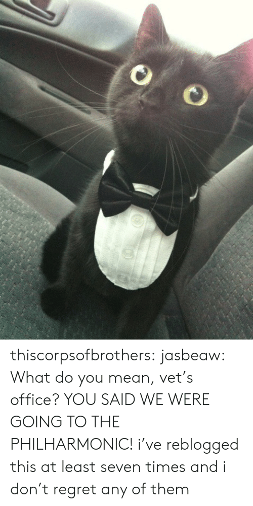 seven: thiscorpsofbrothers: jasbeaw:  What do you mean, vet's office? YOU SAID WE WERE GOING TO THE PHILHARMONIC!  i've reblogged this at least seven times and i don't regret any of them