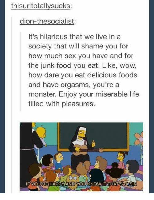 Pleasured: thisurltotallysucks:  dion-thesocialist:  It's hilarious that we live in a  society that will shame you for  how much sex you have and for  the junk food you eat. Like, wow,  how dare you eat delicious foods  and have orgasms, you're a  monster. Enjoy your miserable life  filled with pleasures.  FYOUTRE HAPPY ANDYOU KNOW IT THATS A SIN
