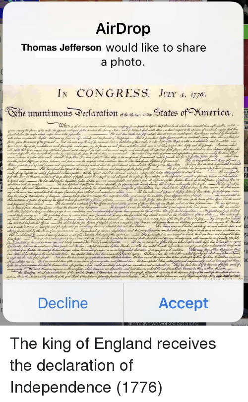 England, Thomas Jefferson, and Declaration of Independence: Thomas Jefferson Would like to share  In CONGRESS. JvLr A, 1776  he umanimons ^ecsaratates ofmerica  TIl  Decline  Accept The king of England receives the declaration of Independence (1776)