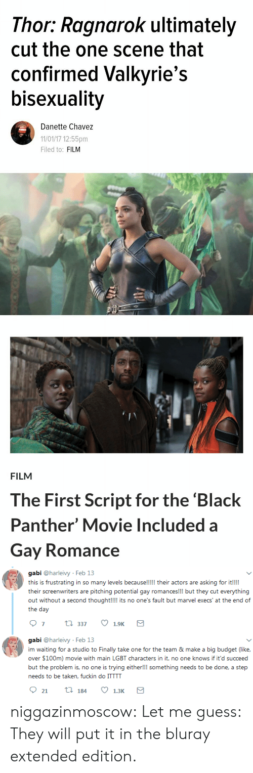 pitching: Thor: Ragnarok ultimately  cut the one scene that  confirmed Valkyrie's  bisexuality  Danette Chavez  11/01/17 12:55pm  Filed to: FILM   FILM  The First Script for the 'Black  Panther' Movie Included a  Gay Romance   gabi @harleivy Feb 13  this is frustrating in so many levels because!!!!! their actors are asking for it!!!  their screenwriters are pitching potential gay romances!!! but they cut everything  out without a second thought!!! its no one's fault but marvel execs' at the end of  the day  07 t 337 1.9K  gabi @harleivy Feb 13  im waiting for a studio to Finally take one for the team & make a big budget (like,  over $100m) movie with main LGBT characters in it. no one knows if it'd succeed  but the problem is, no one is trying either!!! something needs to be done, a step  needs to be taken, fuckin do ITTTT niggazinmoscow: Let me guess: They will put it in the bluray extended edition.