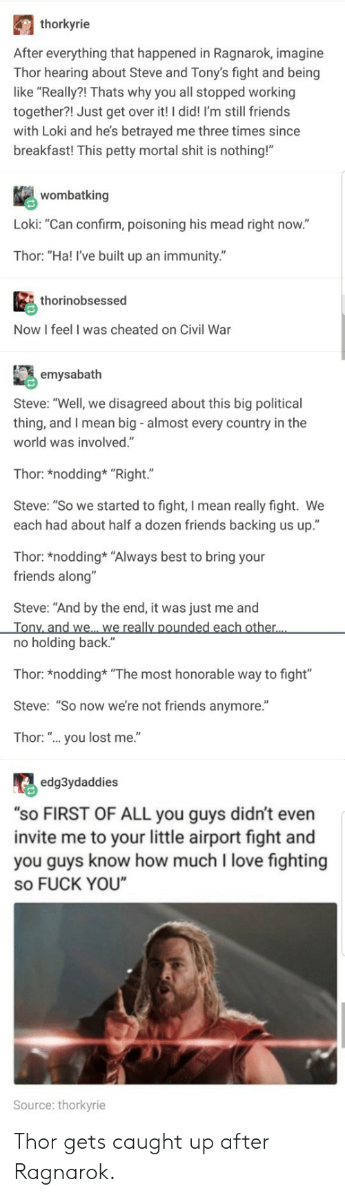 "Friends, Fuck You, and Love: thorkyrie  After everything that happened in Ragnarok, imagine  Thor hearing about Steve and Tony's fight and being  like ""Really?! Thats why you all stopped working  together?! Just get over it! I did! I'm still friends  with Loki and he's betrayed me three times since  breakfast! This petty mortal shit is nothing!""  wombatking  Loki: ""Can confirm, poisoning his mead right now.""  Thor: ""Ha! I've built up an immunity.""  thorinobsessed  Now I feel I was cheated on Civil War  emysabath  Steve: ""Well, we disagreed about this big political  thing, and I mean big - almost every country in the  world was involved.""  Thor: *nodding* ""Right.""  Steve: ""So we started to fight, I mean really fight. We  each had about half a dozen friends backing us up.""  Thor: *nodding* ""Always best to bring your  friends along""  Steve: ""And by the end, it was just me and  no holding back.""  Thor: *nodding ""The most honorable way to fight""  Steve: ""So now we're not friends anymore.""  Thor: "".. you lost me.""  edg3ydaddies  ""sO FIRST OF ALL you guys didn't even  invite me to your little airport fight and  you guys know how much I love fighting  so FUCK YOU  Source: thorkyrie Thor gets caught up after Ragnarok."