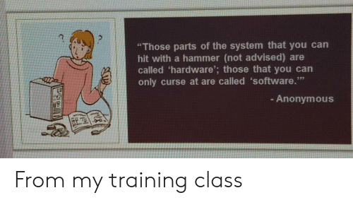 """curse: """"Those parts of the system that you can  hit with a hammer (not advised) are  called 'hardware'; those that you can  only curse at are called 'software.""""  - Anonymous From my training class"""