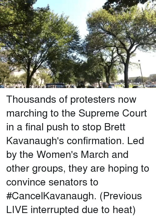 Memes, Supreme, and Supreme Court: Thousands of protesters now marching to the Supreme Court in a final push to stop Brett Kavanaugh's confirmation. Led by the Women's March and other groups, they are hoping to convince senators to #CancelKavanaugh. (Previous LIVE interrupted due to heat)