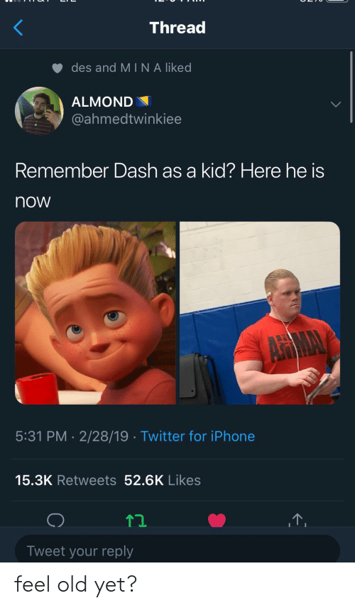 Iphone, Twitter, and Old: Thread  des and MINA liked  ALMOND  @ahmedtwinkiee  Remember Dash as a kid? Here he is  now  5:31 PM - 2/28/19 Twitter for iPhone  15.3K Retweets 52.6K Likes  12  Tweet your reply feel old yet?