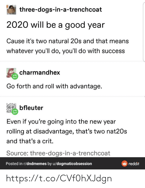 The New: three-dogs-in-a-trenchcoat  2020 will be a good year  Cause it's two natural 20s and that means  whatever you'll do, you'll do with success  charmandhex  Go forth and roll with advantage.  bfleuter  Even if you're going into the new year  rolling at disadvantage, that's two nat20s  and that's a crit.  Source: three-dogs-in-a-trenchcoat  Posted in r/dndmemes by u/dogmaticobsession  reddit https://t.co/CVf0hXJdgn