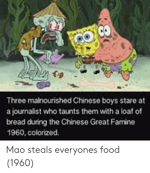 Mao: Three malnourished Chinese boys stare at  a journalist who taunts them with a loaf of  bread during the Chinese Great Famine  1960, colorized. Mao steals everyones food (1960)