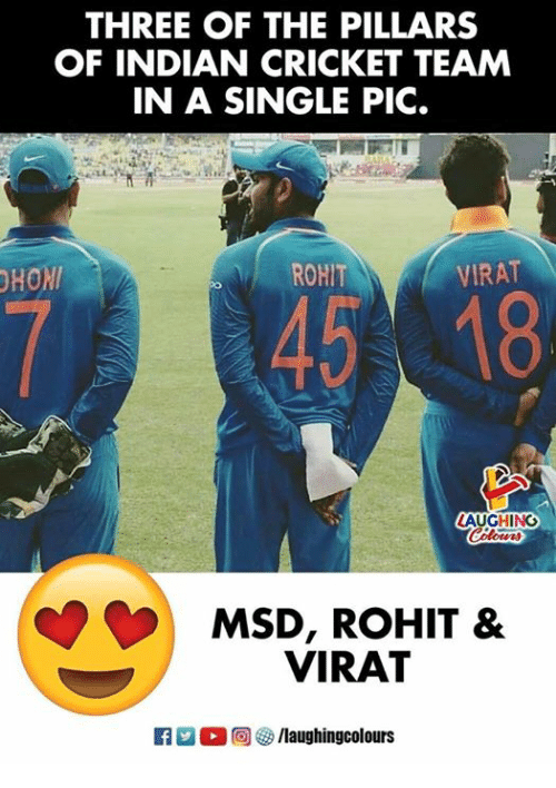 Cricket, Indian, and Indianpeoplefacebook: THREE OF THE PILLARS  OF INDIAN CRICKET TEAM  IN A SINGLE PIC.  HOM  ROHIT  VIRAT  LAUGHING  MSD, ROHIT &  VIRAT  ET 2 (  回參/laughingcolours