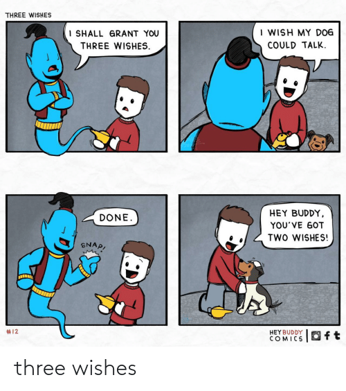 Youve Got: THREE WISHES  I WISH MY DOG  I SHALL GRANT YOU  COULD TALK.  THREE WISHES.  HEY BUDDY,  DONE.  YOU'VE GOT  TWO WISHES!  SNAP,  #12  HEY BUDDY  COMICS  Oft three wishes