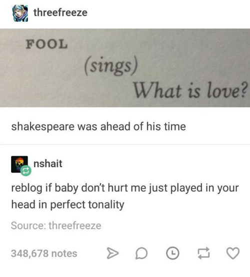 What Is Love: threefreeze  FOOL  sings  What is love?  shakespeare was ahead of his time  nshait  reblog if baby don't hurt me just played in your  head in perfect tonality  Source: threefreeze  348,678 notesO  348,678 notes> O
