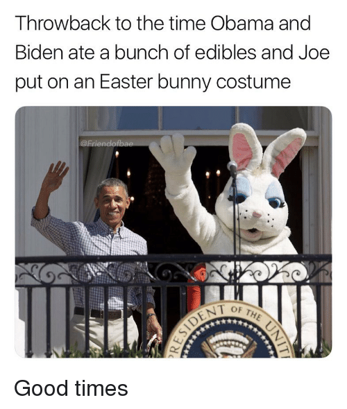 Obama And Biden: Throwback to the time Obama and  Biden ate a bunch of edibles and Joe  put on an Easter bunny costume  @Frien Good times