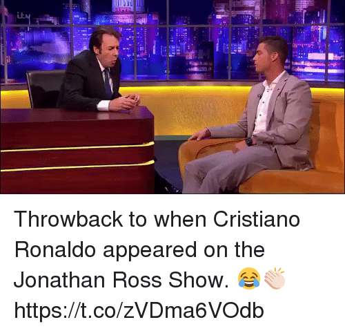 Cristiano Ronaldo, Soccer, and Ronaldo: Throwback to when Cristiano Ronaldo appeared on the Jonathan Ross Show. 😂👏🏻 https://t.co/zVDma6VOdb