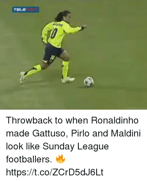 pirlo: Throwback to when Ronaldinho made Gattuso, Pirlo and Maldini look like Sunday League footballers. 🔥 https://t.co/ZCrD5dJ6Lt