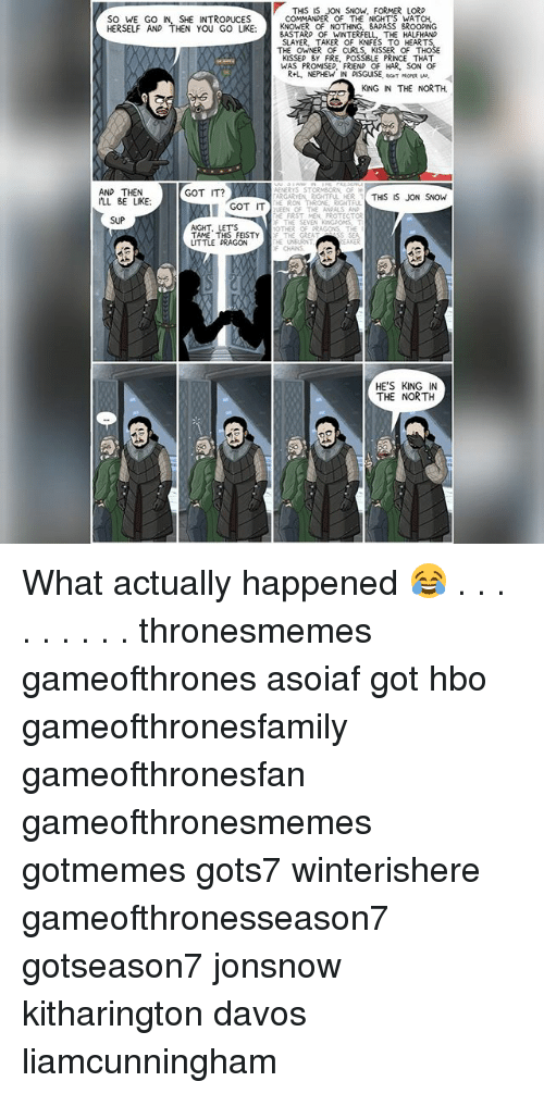Be Like, Hbo, and Memes: THS IS JON SNOW, FORMER LORD  COMMANDER OF THE NIGHT'S WATCH,  SO WE GO IN, SHE INTRODUCES  HERSELF AND THEN YOU GO LIKE: KNOWER OF NOTHNG BADASS BROOD  BASTARD OF WINTERFELL, THE HALFHAND  SLAYER, TAKER OF KNFES TO HEARTS  THE OWNER OF CURLS, KISSER OF THOSE  KISSED BY FRE, POSSIBLE PRINCE THAT  WAS PROMISED, FRIEND OF HAR, SON OF  R+L, NEPHEW IN DISGUISE, T MOE  R+L, NEPHEW IN DISGUISE, BaT  NT ROAR  KING IN THE NORTH  NERYS STORMSOR OF  AND THEN  LL BE LIKE  GOT IT?  CHT HERTHS IS JON SNOW  HE RON THRONE, RGHTE  UEEN OF THE ANDALS AN  THE FRST MEN, PROTECTOR  THE SEVEN KINGPOMS  GOT IT  SUP  AIGHT, LETS  TAME THS FEISTY  LITTLE DRAGON  THE GREA  F CHANS  HE'S KING IN  THE NORTH What actually happened 😂 . . . . . . . . . thronesmemes gameofthrones asoiaf got hbo gameofthronesfamily gameofthronesfan gameofthronesmemes gotmemes gots7 winterishere gameofthronesseason7 gotseason7 jonsnow kitharington davos liamcunningham