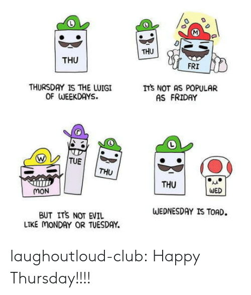 luigi: THU  THU  FRI  THURSDAY IS THE LUIGI  OF WEEKDAYS.  ITS NOT AS POPULAR  AS FRIDAY  TUE  THU  THU  WED  mON  WEDNESDAY IS TOAD.  BUT ITS NOT EVIL  LIKE MONDAY OR TUESDAY. laughoutloud-club:  Happy Thursday!!!!
