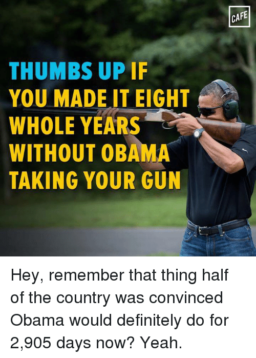 Memes, 🤖, and Thumbs Up: THUMBS UP IF  YOU MADE IT EIGHT  WHOLE YEARS  WITHOUT OBAMA  TAKING YOUR GUN  CAFE Hey, remember that thing half of the country was convinced Obama would definitely do for 2,905 days now? Yeah.