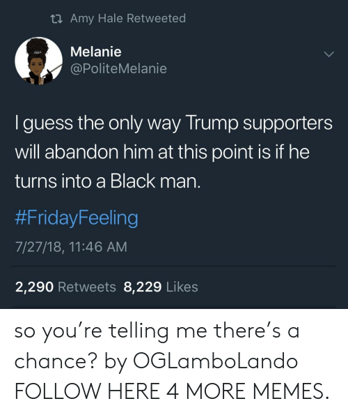 Trump Supporters: ti Amy Hale Retweeted  Melanie  @PoliteMelanie  I guess the only way Trump supporters  will abandon him at this point is if he  turns into a Black man.  #Friday-eeling  7/27/18, 11:46 AM  2,290 Retweets 8,229 Likes so you're telling me there's a chance? by OGLamboLando FOLLOW HERE 4 MORE MEMES.