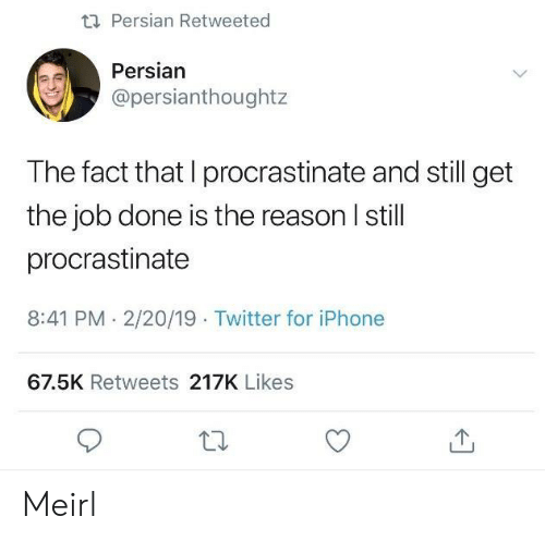procrastinate: ti Persian Retweeted  Persian  @persianthoughtz  The fact that I procrastinate and still get  the job done is the reason I still  procrastinate  8:41 PM. 2/20/19 Twitter for iPhone  67.5K Retweets 217K Likes Meirl