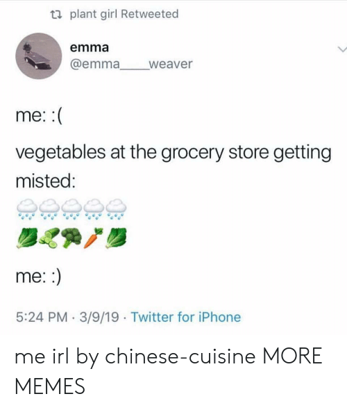 Dank, Iphone, and Memes: ti plant girl Retweeted  emma  @emma weaver  me:  vegetables at the grocery store getting  misted:  me::  5:24 PM 3/9/19 Twitter for iPhone me irl by chinese-cuisine MORE MEMES