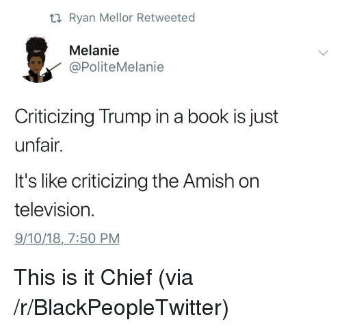 melanie: ti Ryan Mellor Retweeted  Melanie  PoliteMelanie  Criticizing Trump in a book is just  unfair.  It's like criticizing the Amish on  television  9/10/18,7:50 PM This is it Chief (via /r/BlackPeopleTwitter)
