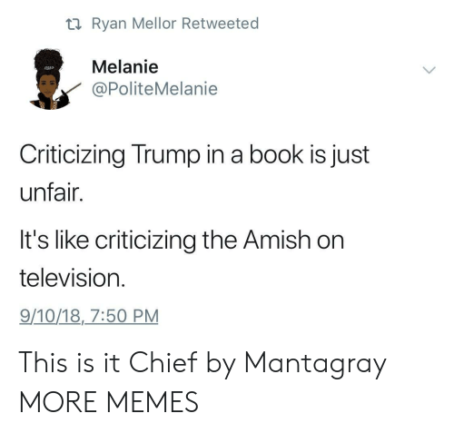 melanie: ti Ryan Mellor Retweeted  Melanie  PoliteMelanie  Criticizing Trump in a book is just  unfair.  It's like criticizing the Amish on  television  9/10/18,7:50 PM This is it Chief by Mantagray MORE MEMES