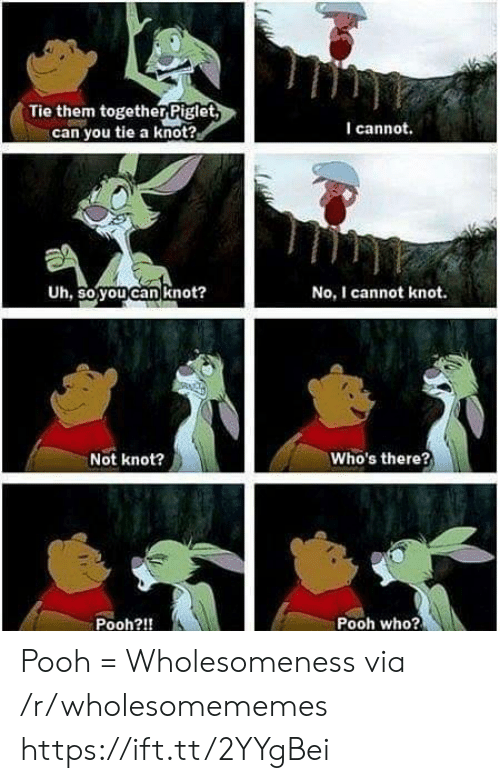 Who, Can, and Via: Tie them togetherPiglet  can you tie a knot?  I cannot.  Uh, so you can knot?  No, I cannot knot.  Who's there?  Not knot?  Pooh who?  Pooh?!! Pooh = Wholesomeness via /r/wholesomememes https://ift.tt/2YYgBei