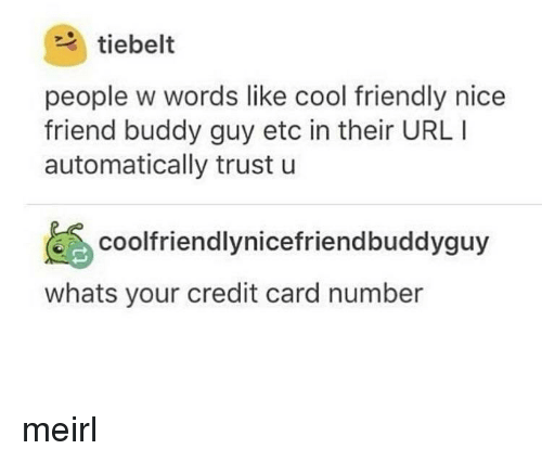 buddy guy: tiebelt  people w words like cool friendly nice  friend buddy guy etc in their URL I  automatically trust u  coolfriendlynicefriendbuddyguy  whats your credit card number meirl