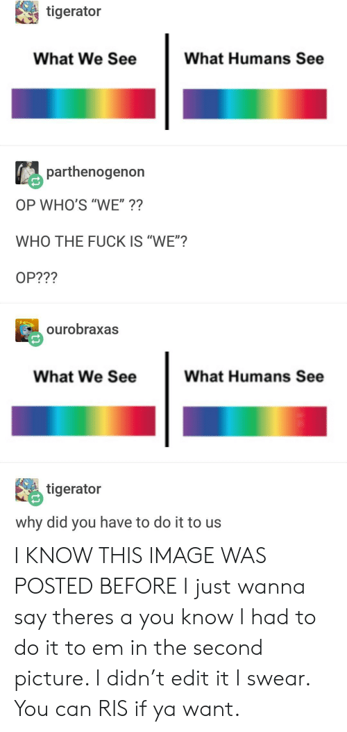 "I Had To Do It: tigerator  What We See  What Humans See  parthenogenon  OP WHO'S ""WE""??  WHO THE FUCK IS ""WE""?  OP???  ourobraxas  What We See  What Humans See  毘tigerator  why did you have to do it to us I KNOW THIS IMAGE WAS POSTED BEFORE I just wanna say theres a you know I had to do it to em in the second picture. I didn't edit it I swear. You can RIS if ya want."