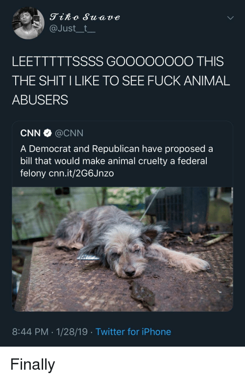cnn.com, Iphone, and Shit: Tiko Suave  @Just__t  LEETTTTTSSSS GOOooOOOO THIS  THE SHIT ILIKE TO SEE FUCK ANIMAL  ABUSERS  CNN·@CNN  A Democrat and Republican have proposed a  bill that would make animal cruelty a federal  felony cnn.it/2G6Jnzo  8:44 PM-1/28/19 Twitter for iPhone Finally