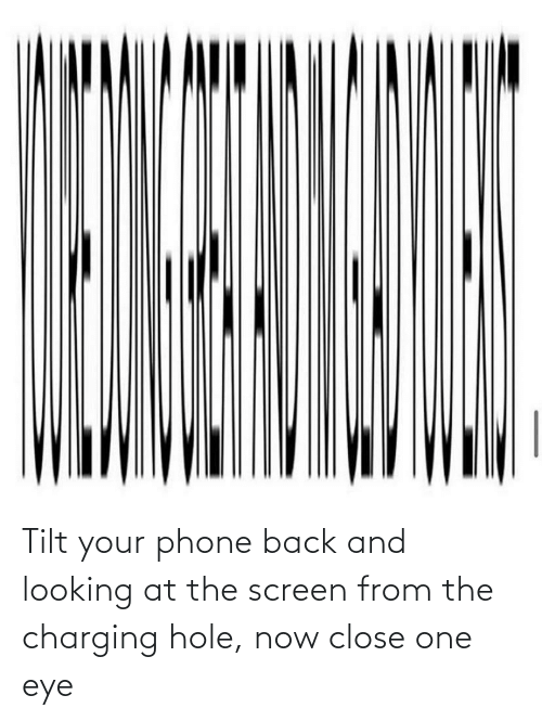eye: Tilt your phone back and looking at the screen from the charging hole, now close one eye