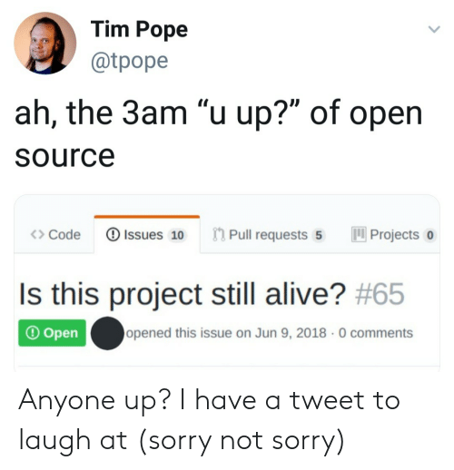 """Alive, Pope Francis, and Sorry: Tim Pope  @tpope  ah, the 3am """"u up?"""" of open  Source  Pull requests 5  Issues 10  Projects  Code  Is this project still alive? #65  opened this issue on Jun 9, 2018 0 comments  Open Anyone up? I have a tweet to laugh at (sorry not sorry)"""