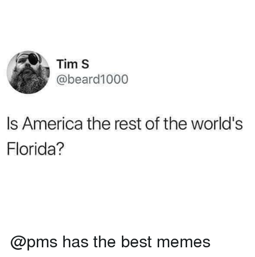 pms: Tim S  @beard1000  Is America the rest of the world's  Florida? @pms has the best memes